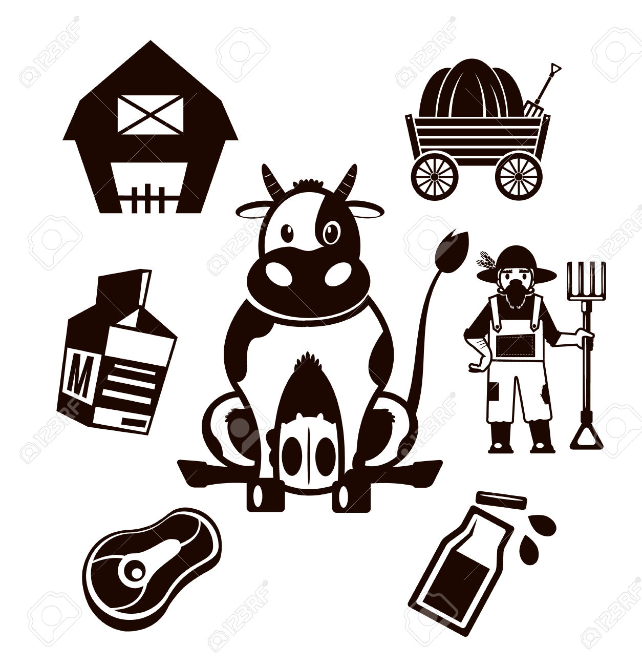 32902241-Stock-vector-farm-cow-pictogram-black-icon-set-Stock-Vector.jpg